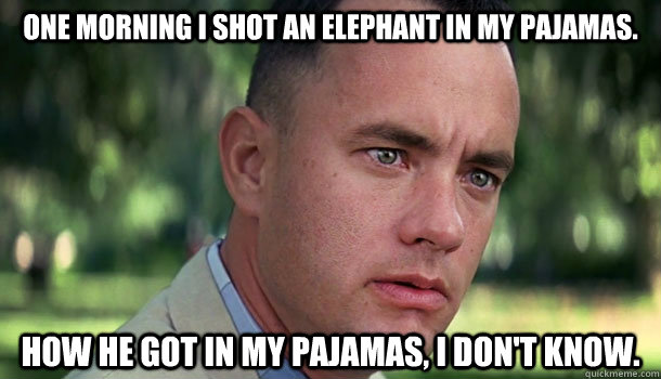 One morning I shot an elephant in my pajamas.  How he got in my pajamas, I don't know. - One morning I shot an elephant in my pajamas.  How he got in my pajamas, I don't know.  Offensive Forrest Gump