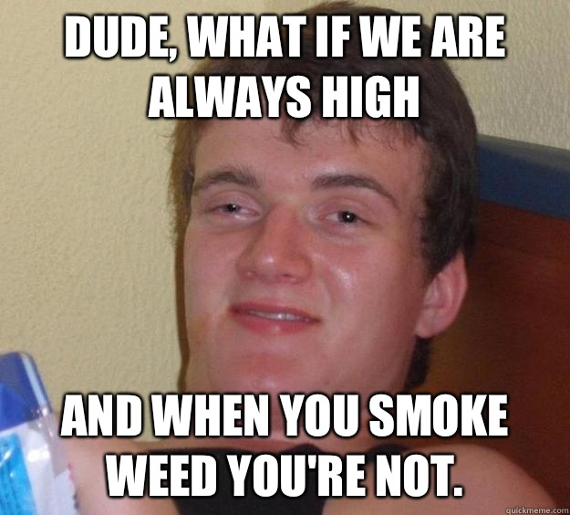 Dude, what if we are always high and when you smoke weed you're not. - Dude, what if we are always high and when you smoke weed you're not.  10 Guy