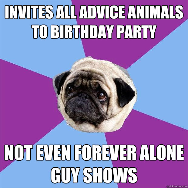Invites all advice animals to birthday party not even forever alone guy shows - Invites all advice animals to birthday party not even forever alone guy shows  Lonely Pug
