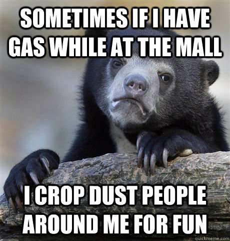Sometimes if I have gas while at the mall I crop dust people around me for fun - Sometimes if I have gas while at the mall I crop dust people around me for fun  Confession Bear