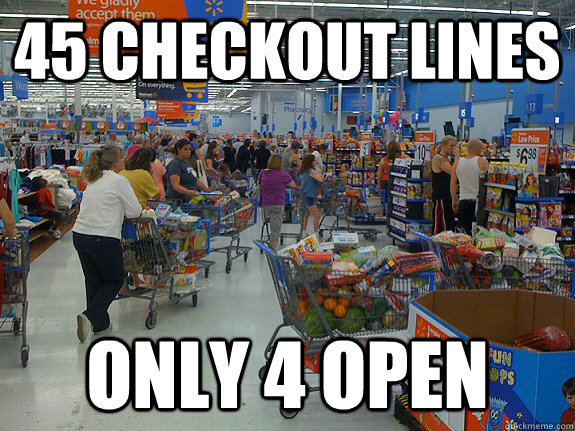 45 Checkout Lines Only 4 Open