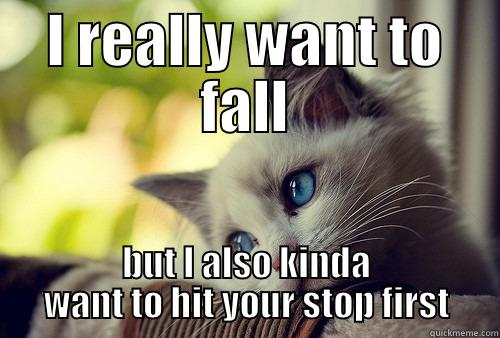 I REALLY WANT TO FALL BUT I ALSO KINDA WANT TO HIT YOUR STOP FIRST First World Cat Problems