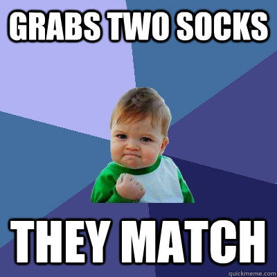 grabs two socks they match - grabs two socks they match  Success Kid