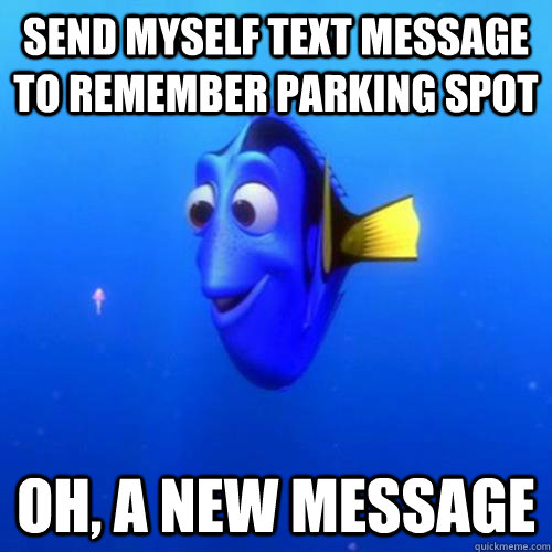 Send myself text message to remember parking spot Oh, a new message - Send myself text message to remember parking spot Oh, a new message  dory