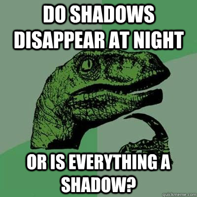 DO SHADOWS DISAPPEAR AT NIGHT OR IS EVERYTHING A SHADOW?