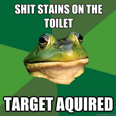 Shit stains on the toilet  target aquired - Shit stains on the toilet  target aquired  Foul Bachelor Frog