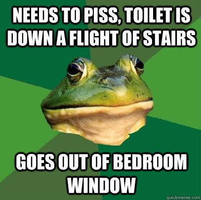 needs to piss, toilet is down a flight of stairs goes out of bedroom window - needs to piss, toilet is down a flight of stairs goes out of bedroom window  Foul Bachelor Frog