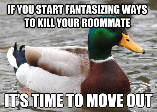 If you start fantasizing ways to kill your roommate It's time to move out - If you start fantasizing ways to kill your roommate It's time to move out  Actual Advice Mallard