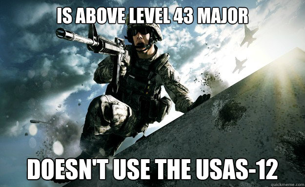 Is above level 43 Major Doesn't use the USAS-12 - Is above level 43 Major Doesn't use the USAS-12  Misc