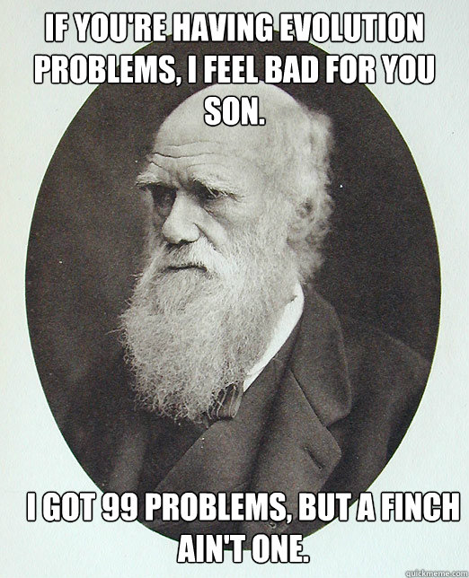 If you're having evolution problems, I feel bad for you son. I got 99 problems, but a finch ain't one. - If you're having evolution problems, I feel bad for you son. I got 99 problems, but a finch ain't one.  Charles Darwin