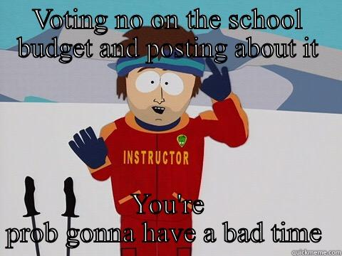 VOTING NO ON THE SCHOOL BUDGET AND POSTING ABOUT IT YOU'RE PROB GONNA HAVE A BAD TIME  Youre gonna have a bad time