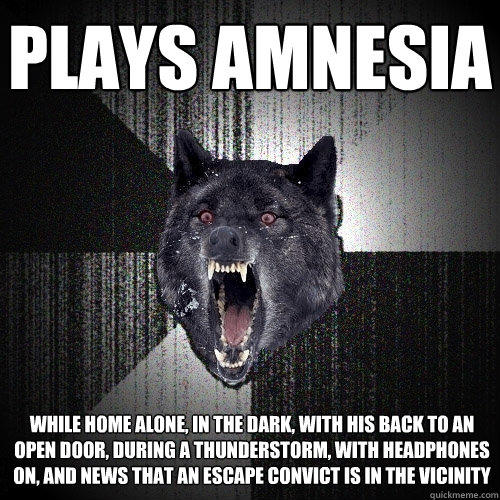 Plays Amnesia while home alone, in the dark, with his back to an open door, during a thunderstorm, with headphones on, and news that an escape convict is in the vicinity - Plays Amnesia while home alone, in the dark, with his back to an open door, during a thunderstorm, with headphones on, and news that an escape convict is in the vicinity  Insanity Wolf
