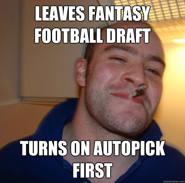 Leaves fantasy football draft turns on autopick first Misc