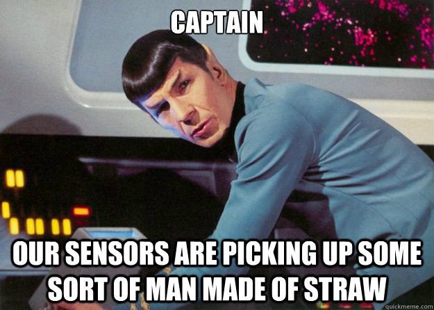captain our sensors are picking up some sort of man made of straw - captain our sensors are picking up some sort of man made of straw  Spock