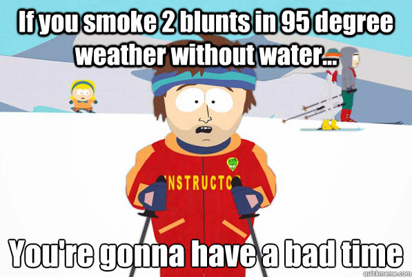 If you smoke 2 blunts in 95 degree weather without water... You're gonna have a bad time
