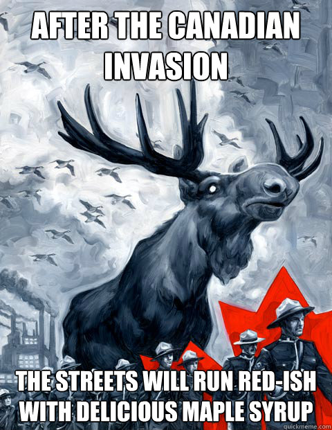 After the Canadian invasion the streets will run red-ish with delicious maple syrup  Vindictive Canadian Moose Overlord