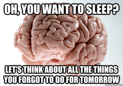 oh, you want to sleep? let's think about all the things you forgot to do for tomorrow - oh, you want to sleep? let's think about all the things you forgot to do for tomorrow  Scumbag Brain