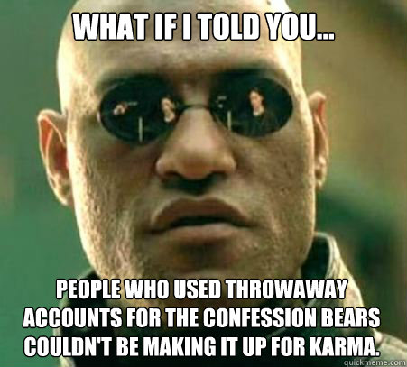 WHAT IF I TOLD YOU... People who used throwaway accounts for the confession bears couldn't be making it up for karma. -