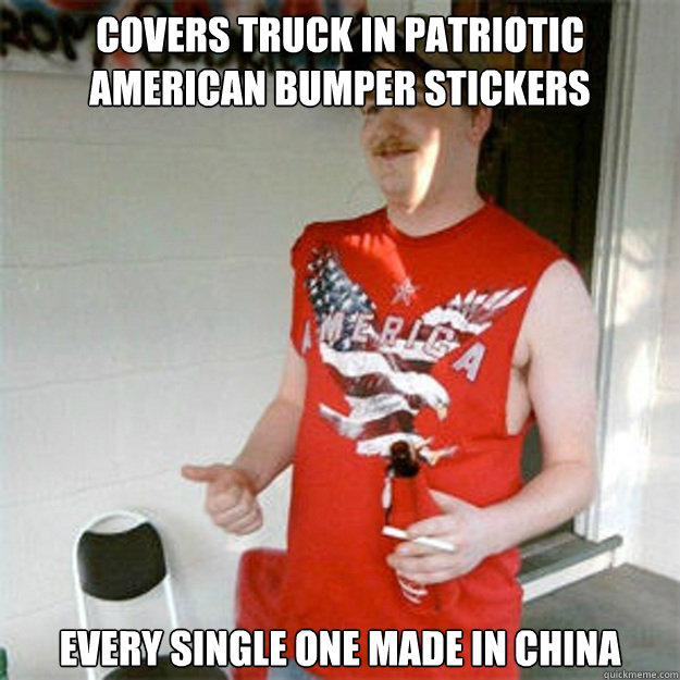 covers truck in patriotic american bumper stickers every single one made in china