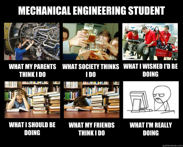 Mechanical Engineering Student What my parents think i do what society thinks i do what i wished i'd be doing what i should be doing what my friends think i do What i'm really doing