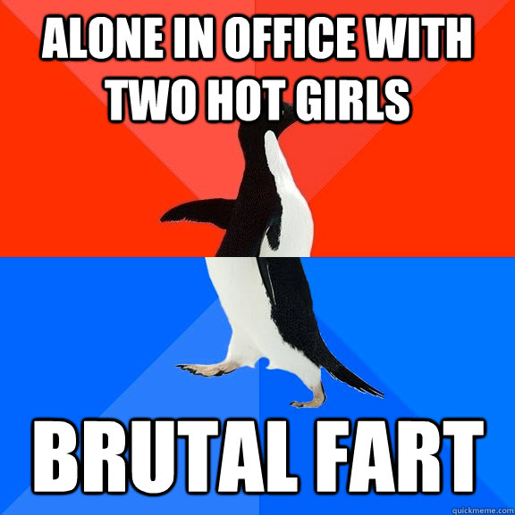 alone in office with two hot girls brutal fart - alone in office with two hot girls brutal fart  Socially Awesome Awkward Penguin