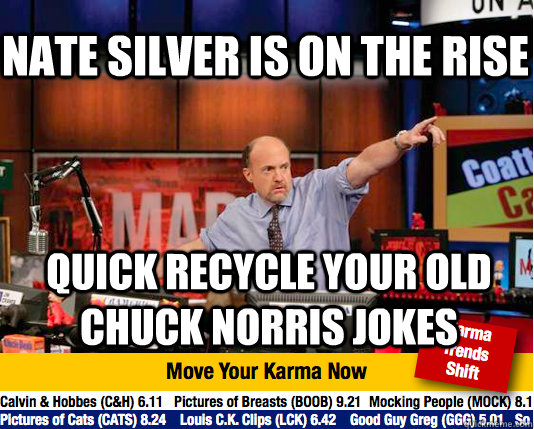 Nate silver is on the rise Quick recycle your old chuck norris Jokes - Nate silver is on the rise Quick recycle your old chuck norris Jokes  Mad Karma with Jim Cramer