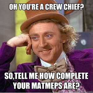 oh you're a crew chief? so,tell me how complete your matmeps are?  willy wonka