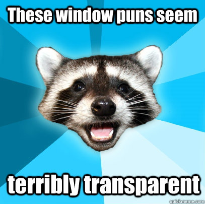 These window puns seem terribly transparent - These window puns seem terribly transparent  Lame Pun Coon