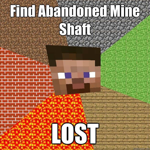 Find Abandoned Mine Shaft LOST - Minecraft - quickmeme