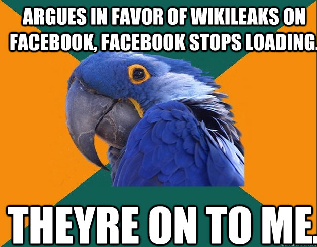 Argues in favor of Wikileaks on Facebook, Facebook stops loading. Theyre on to me.  - Argues in favor of Wikileaks on Facebook, Facebook stops loading. Theyre on to me.   Paranoid Parrot