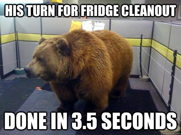 His turn for fridge cleanout done in 3 5 Seconds - Office