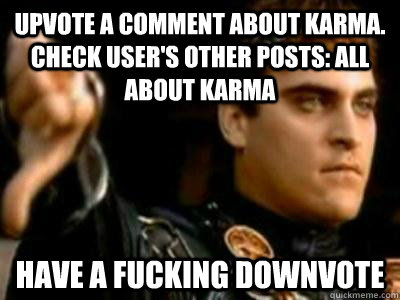 Upvote a comment about karma.  check user's other posts: all about karma have a fucking downvote - Upvote a comment about karma.  check user's other posts: all about karma have a fucking downvote  Downvoting Roman