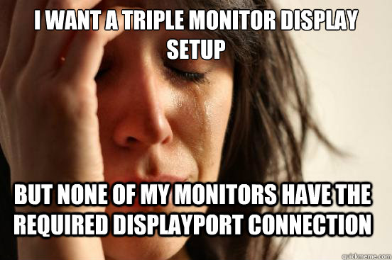 i want a triple monitor display setup but none of my monitors have the required displayport connection - i want a triple monitor display setup but none of my monitors have the required displayport connection  FirstWorldProblems