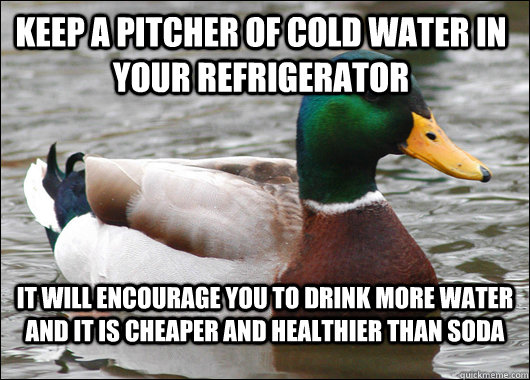Keep a pitcher of cold water in your refrigerator It will encourage you to drink more water and it is cheaper and healthier than soda - Keep a pitcher of cold water in your refrigerator It will encourage you to drink more water and it is cheaper and healthier than soda  Actual Advice Mallard