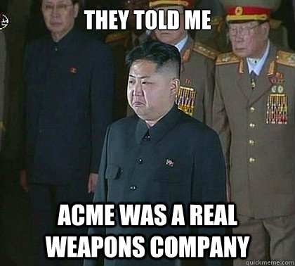 they told me acme was a real weapons company  Sad Kim Jong Un