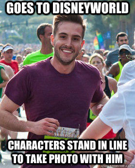Goes to Disneyworld characters stand in line to take photo with him  Ridiculously photogenic guy