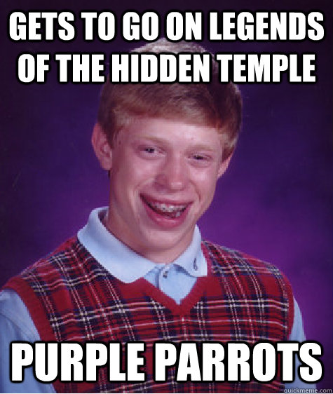 Gets to go on Legends of the hidden temple Purple Parrots - Gets to go on Legends of the hidden temple Purple Parrots  Bad Luck Brian