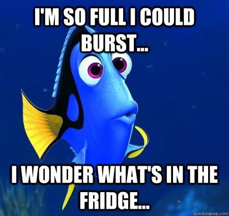 I'm so full I could burst... I wonder what's in the fridge...  Forgetful Dory