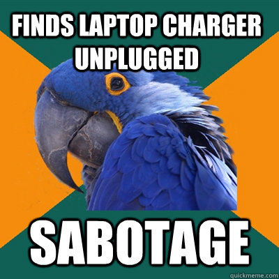 Finds laptop charger unplugged SABOTAGE - Finds laptop charger unplugged SABOTAGE  Paranoid Parrot