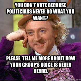 You don't vote because politicians never do what you want? Please, tell me more about how your group's voice is never heard. - You don't vote because politicians never do what you want? Please, tell me more about how your group's voice is never heard.  Condescending Wonka