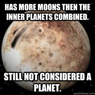 Has more Moons then the inner planets combined. Still not considered a planet.  Bad Luck Pluto