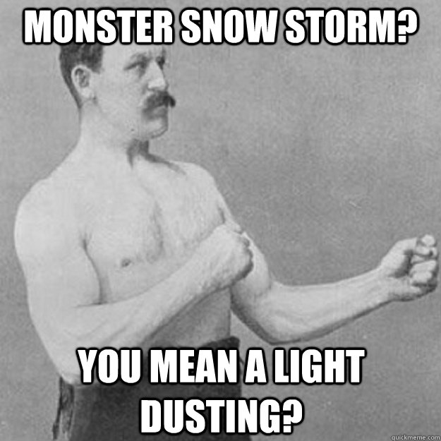 monster snow storm? you mean a light dusting? - monster snow storm? you mean a light dusting?  overly manly man