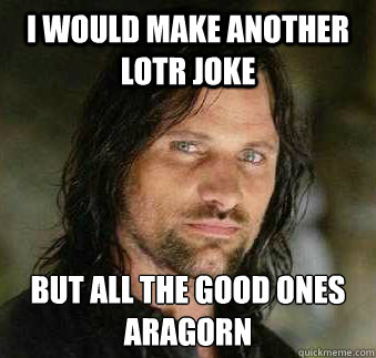 I would make another LOTR joke But all the good ones  Aragorn - I would make another LOTR joke But all the good ones  Aragorn  Tough Love Aragorn