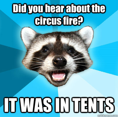 Did you hear about the circus fire? IT WAS IN TENTS - Did you hear about the circus fire? IT WAS IN TENTS  Lame Pun Coon