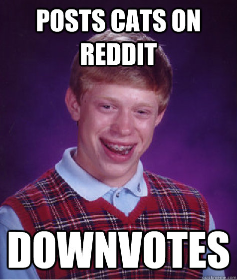 Posts cats on reddit Downvotes - Posts cats on reddit Downvotes  Bad Luck Brian