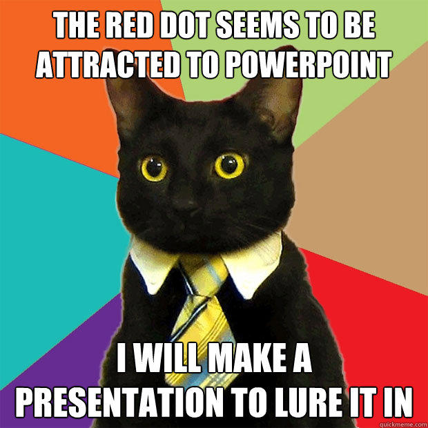 The red dot seems to be attracted to powerPoint I will make a presentation to lure it in  Business Cat