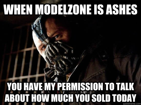 when modelzone is ashes you have my permission to talk about how much you sold today - when modelzone is ashes you have my permission to talk about how much you sold today  Condescending Bane