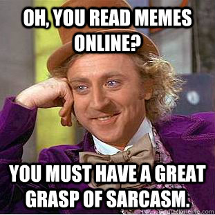 ae0c586d0c1063edf24ee12ca95d305b7e1face5fd1facc58ca4add0388c8f64 oh, you read memes online? you must have a great grasp of sarcasm,Must Have Memes