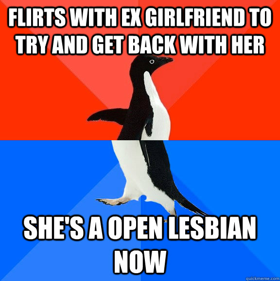 Flirts with ex girlfriend to try and get back with her She's a open lesbian now - Flirts with ex girlfriend to try and get back with her She's a open lesbian now  Socially Awesome Awkward Penguin