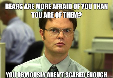 bears are more afraid of you than you are of them?  You obviously aren't scared enough - bears are more afraid of you than you are of them?  You obviously aren't scared enough  Dwight
